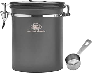Coffee Canister for Ground Coffee, RollGan Stainless Steel Airtight Coffee Storage Container Kitchen Food Jar with co2 Valve, Date Tracker and Scoop for Beans, Grounds, Tea, Flour, Cereal, Sugar