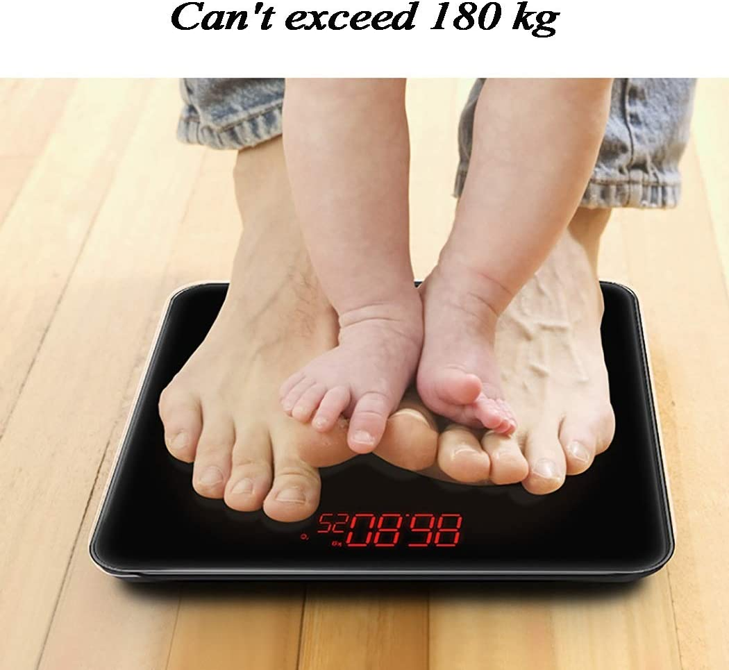 ZHPBHD Electronic scale USB Portable Charging Electronic Scales Scales Accurate Human Body Measurement 180kg Range (Color : Black) Black
