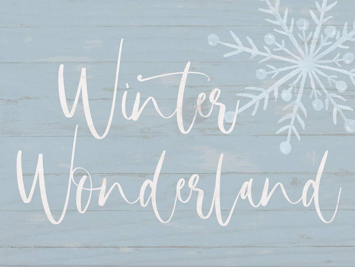 P. Graham Dunn Winter Wonderland Soft Blue 7.2 x 5.5 Pine Wood Christmas Word Block Sign