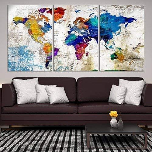 XL World Map Push Pin Wall Art Canvas Print, Push Pin World Map Canvas Print, Travel World Map Large Wall Art