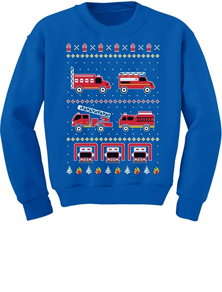 Firetrucks Firemen Ugly Christmas Sweater Toddler//Kids Sweatshirt 3T Blue Tstars