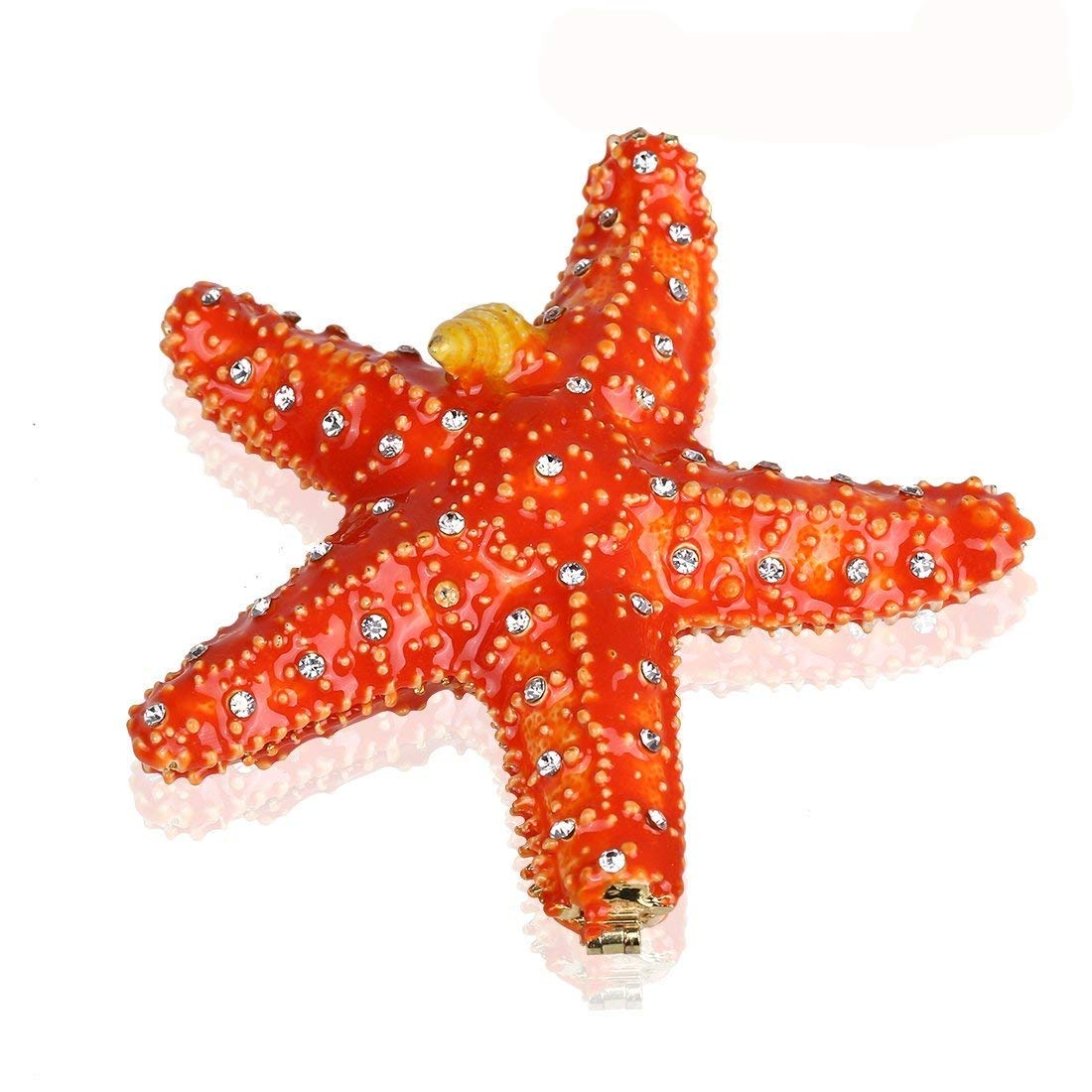 YUFENG Trinket Box Hinged Starfish Figurine Bejeweled Ring Holder Christmas Decoration Collectible Gift
