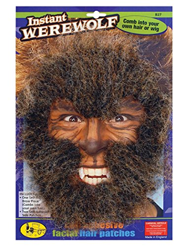 (Bristol Novelty MD151 Werewolf Face Hair Kit, Brown, One)
