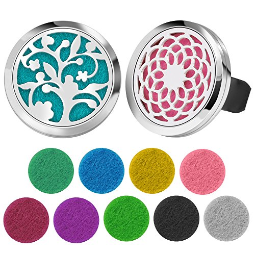 InnoGear 35mm Car Diffuser Air Freshener Aromatherapy Essential Oil Car Vent Clip Stainless Steel Locket Diffusers Odor Eliminator with 20 Replacement Pads