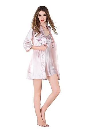 Batas de Encaje Ropa de Dormir Floral de Dormir Camisón de Mujer de Dos Piezas Conjuntos de Pijamas de Seda Camisón Sexy para Mujer: Amazon.es: Deportes y ...