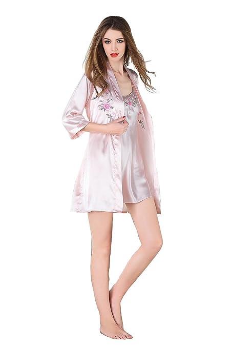 Batas de Encaje Ropa de Dormir Floral de Dormir Camisón de Mujer de Dos Piezas Conjuntos