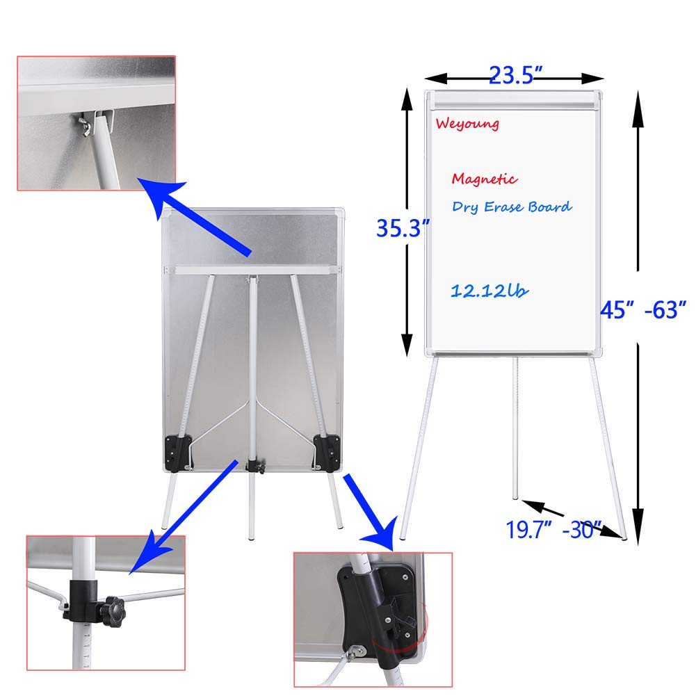 3 Markers White Board Easel with 1 Eraser Easel White Board,WEYOUNG Portable Dry Erase Easel Board Magnetic Tripod Whiteboard Flipchart Easel Height Adjustable 6 Magnets 36x24 inches