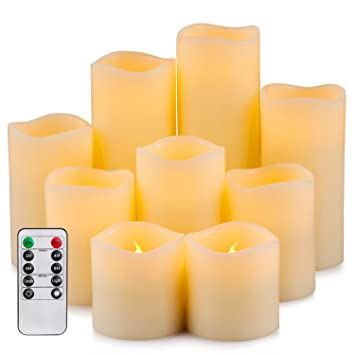 Enpornk Flameless Candles LED Pillar Battery Operated Candles with Remote Timer Ivory Color Set of 9