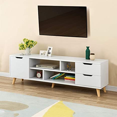 Fulijie Wood Tv Cabinet Modern Coffee Table Living Room Cabinet With Three Cabinet Four Shelves White