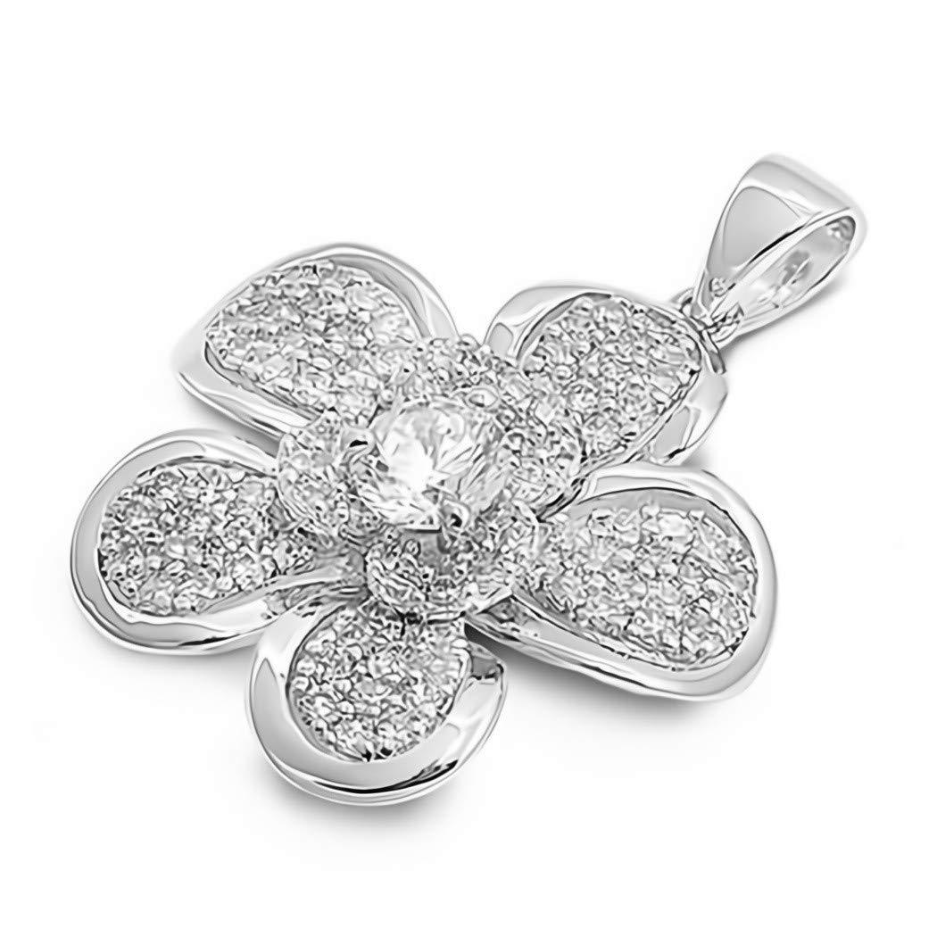 Glitzs Jewels 925 Sterling Silver Cubic Zirconia CZ Necklace Pendant Clear Plumeria