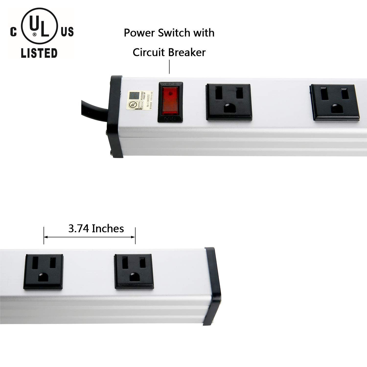 10 Outlet Plugs Heavy Duty Metal Power Strip, Surge Protector Aluminum Workshop Socket with 4FT Long Cord and Power Switch. 15A, 125V, 1875W