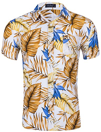 XI PENG Men's Tropical Short Sleeve Floral Print Beach Aloha Hawaiian Shirt (Yellow White Palm Leaf, Medium)