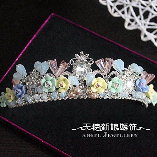 - Generic Custom color crystal angel ornaments bride wedding marriage clay crown tiara headdress wedding dress handmade pearl hair accessories