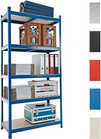 CLP Estantería Metálica Galvanizada I Estantería Capacidad Máx. de Carga 875 kg I Estantería Metálica de 5 Estantes I Color: Azul, 90x40x180 cm: Amazon.es: Hogar