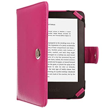 TECHGEAR Rosada Kindle Funda de Cuero PU con Cierre magnético ...