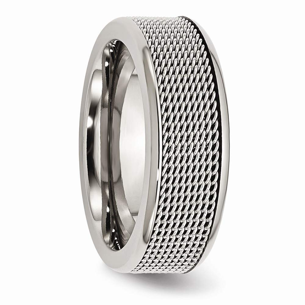 Stainless Steel Polished Engravable Base with Steel Mesh Center 8mm Band Ring 10 10.5 12 7 7.5 8 8.5 9 Ring Size Options