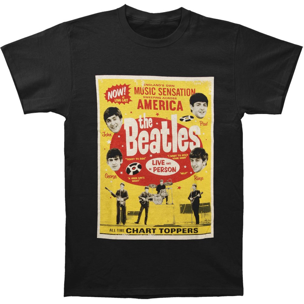 Beatles S Chart Toppers Poster Tshirt Black