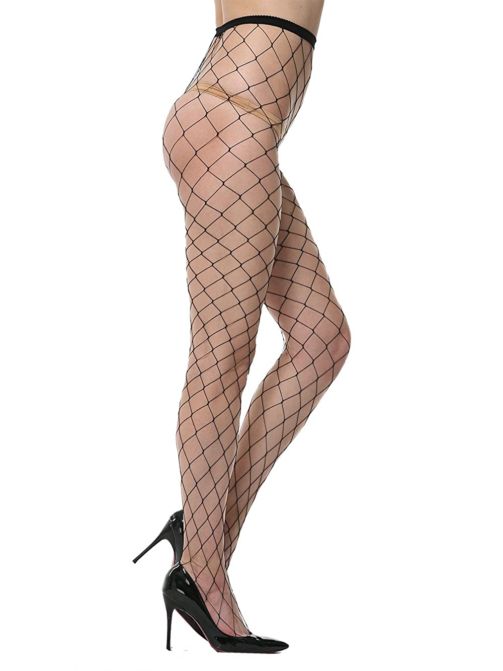 Florboom Womens Fishnet Stockings Fence Net Tights High Waisted Pantyhose 1385BKO