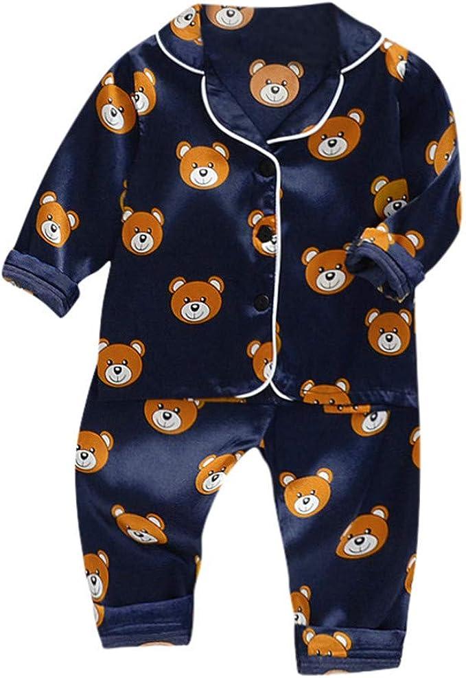 Kids Toddler Baby Girl Boy Button-Down Pajamas Set Long Sleeve Two Piece Pjs Set Sleepwear Loungewear