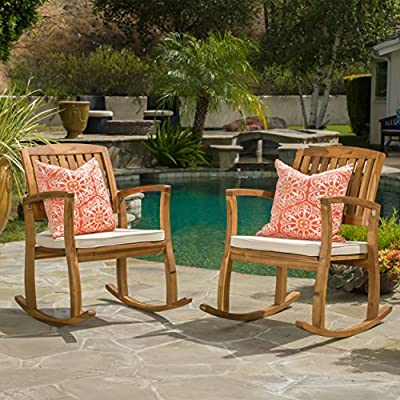 Sadie Outdoor Acacia Wood Rocking Chairs with Cushion (Set of 2) -  - patio-furniture, patio-chairs, patio - 61BvDSa9tsL. SS400  -