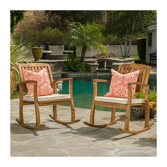 Sadie Outdoor Acacia Wood Rocking Chairs with Cushion (Set of 2) - Includes: two (2) Rocking Chair material: acacia wood cushion material: fabric finish: teak cushion color: White assembly required dimensions: 33.25 inches deep x 24.00 inches wide x 35.75 inches high seat width: 20.75 inches seat depth: 19.00 inches seat Height: 16.50 inches arm Height: 26.75 inches Brand name: Christopher Knight Home Made in China - patio-furniture, patio-chairs, patio - 61BvDSa9tsL. SS570  -