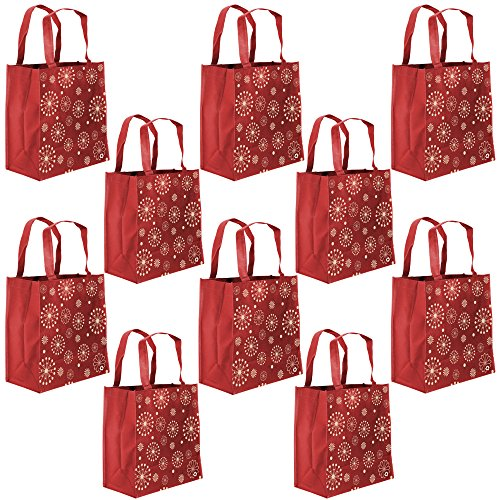 ReBagMe Large Reusable Grocery Bag Totes with Extra Reinforced Handles - Red (Pack of 10)