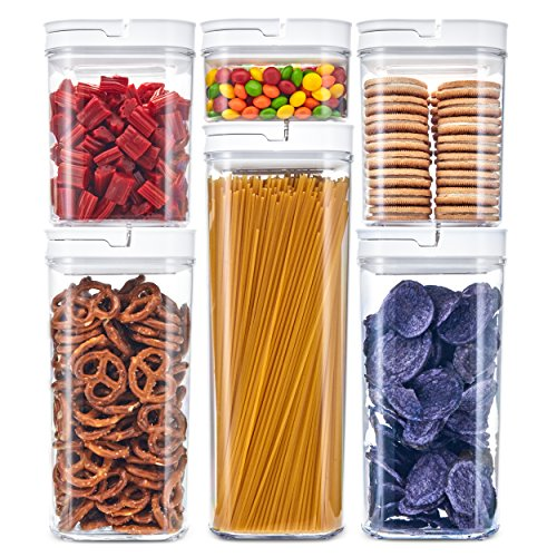 DuraHome Airtight Food Storage Containers 6 Piece Set - BPA Free Durable Clear Acrylic Container with Innovative FlipLock Air Tight Handle Lid for Dry Goods Pantry Organization (Square)