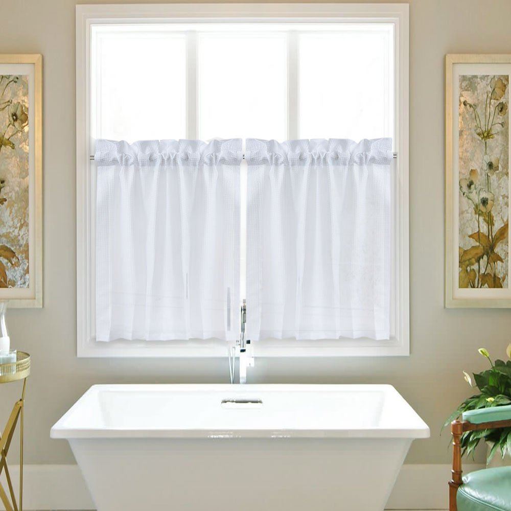 IdealHouse Bathroom Tiers Waffle Weave Short Tier Curtains for Bathroom Café Waterproof Window Coverings for Kitchen (30'' x 36'', White, Set of Two)