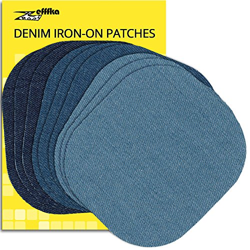 ZEFFFKA Premium Quality Denim Iron on Jean Patches No-Sew Shades of Blue 9 Pieces Assorted Cotton Jeans Repair Kit 4-1/4 by 3-3/4