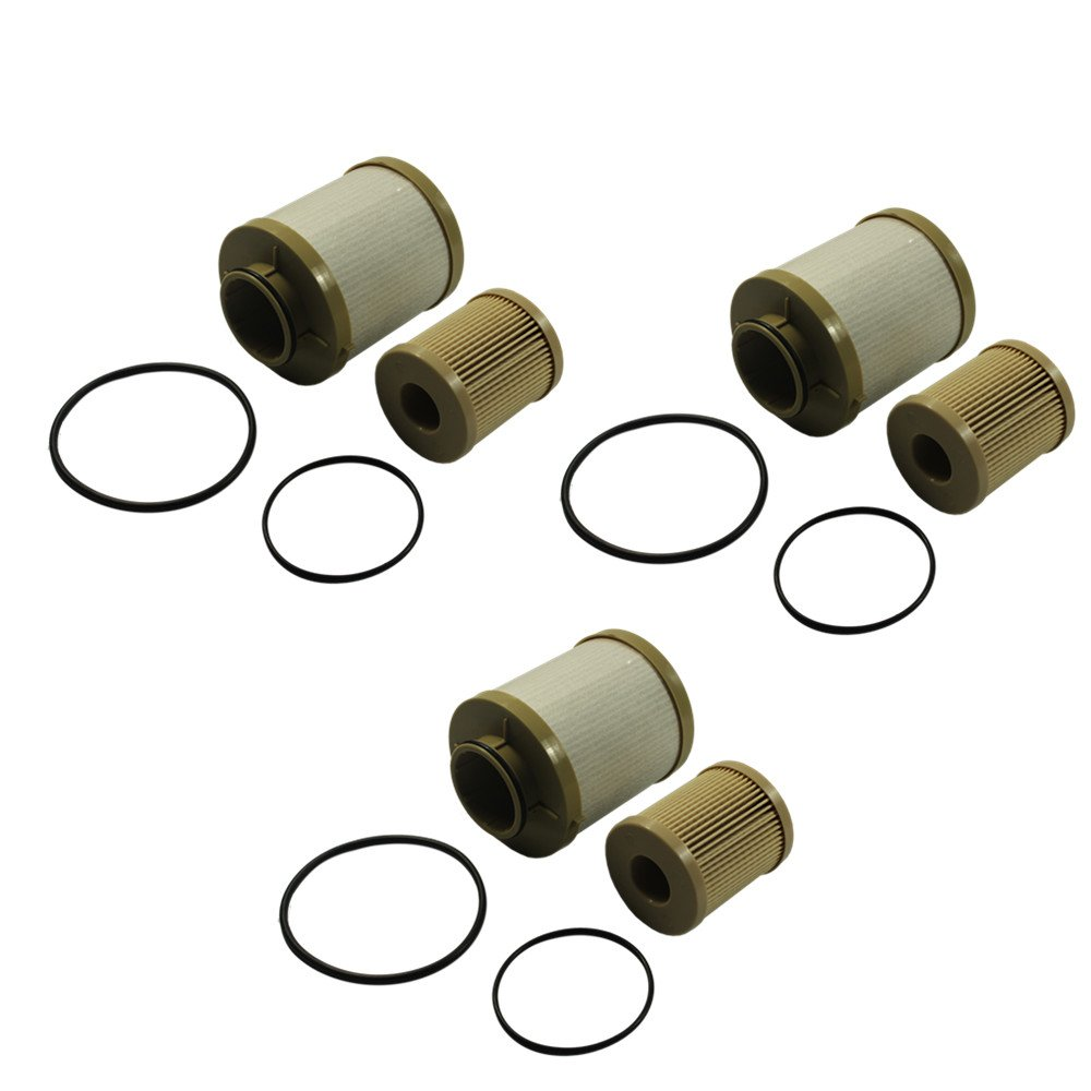CARMOCAR For Ford 6.0L 2003-2007 Diesel Fuel Filter 3 Pack includes lower lifter pump filter and upper fuel bowl filter FD4604 Ford F250 F350 F450 F550 F650 EXCURSION FD-4604 FD-4616 Replacements Z235X3