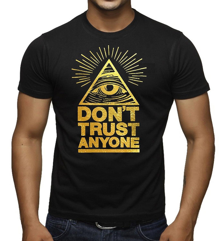 Gold Foil Don't Trust Anyone Men's Black T-Shirt Black