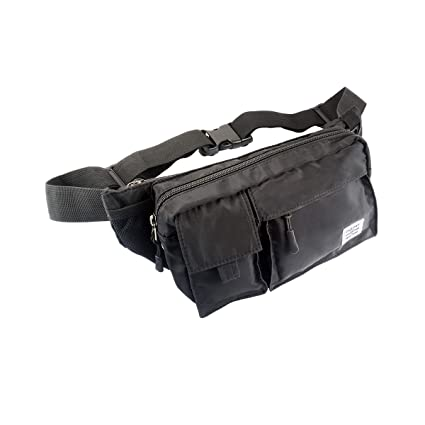 a55a04fc370 Amazon.com: Travel Fanny Pack Black Waist Bag for Men and Women Bum Hip Bag  for Running Outdoor Vacation Hiking Workout, Durable Nylon Material, ...