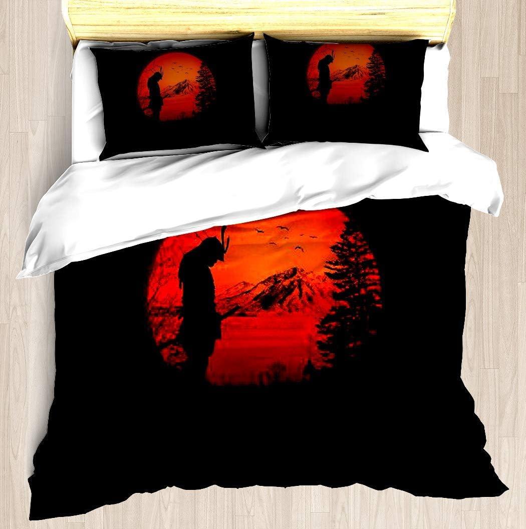 SINOVAL My Love Japan/Samurai Warrior/Ninja/Katana Full/Queen Size Brushed Microfiber 1 Duvet Cover 2 Pillow Shams Zipper Closure