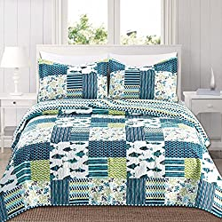 Home Fashion Designs 3-Piece Reversible Quilt Set with Shams. All-Season Bedspread with Patchwork Pattern. Barbados Collection By Brand. (Full/Queen, Blue/Grey)