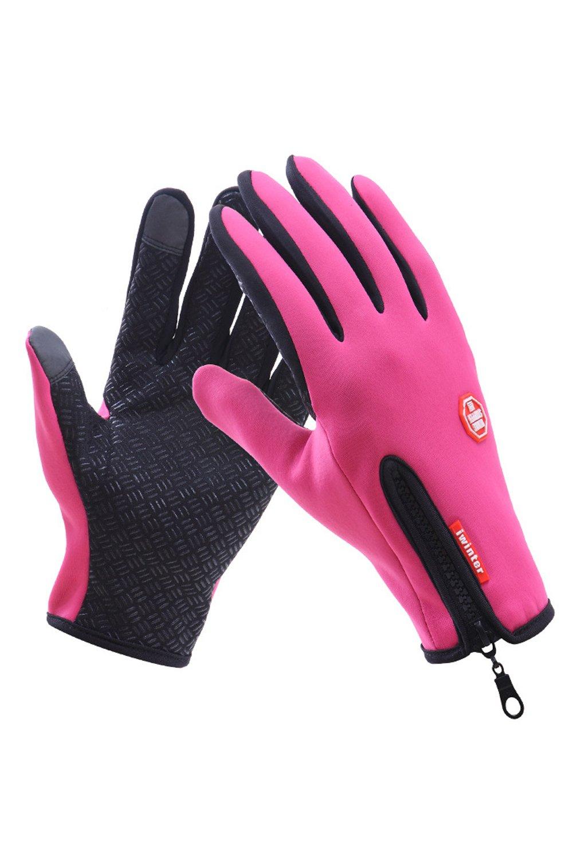 Unisex Outdoor Waterproof Touch Screen Gloves Sports Winter Warm Climbing Mittens Black One Size CAQZ1436-Black-F