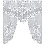 Tuu 47.24x41.34 inch Lace Flower Sheer Curtains Tulle Window Voile Panels for Bedroom Kitchen 1pcs (B)