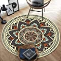 Chair Mat Non Slip Washable Traditional Vintage Flower Area Rugs, Round Anti-Skid Dining Room Carpet Bedroom Chair Living Room Mat