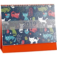 VORCOOL 2019 Creative Desk Calendars Schedule Planner Cute Lovely Cartoon Desktop Krafted Annual Calendar Year Book for Office Home(Cat)