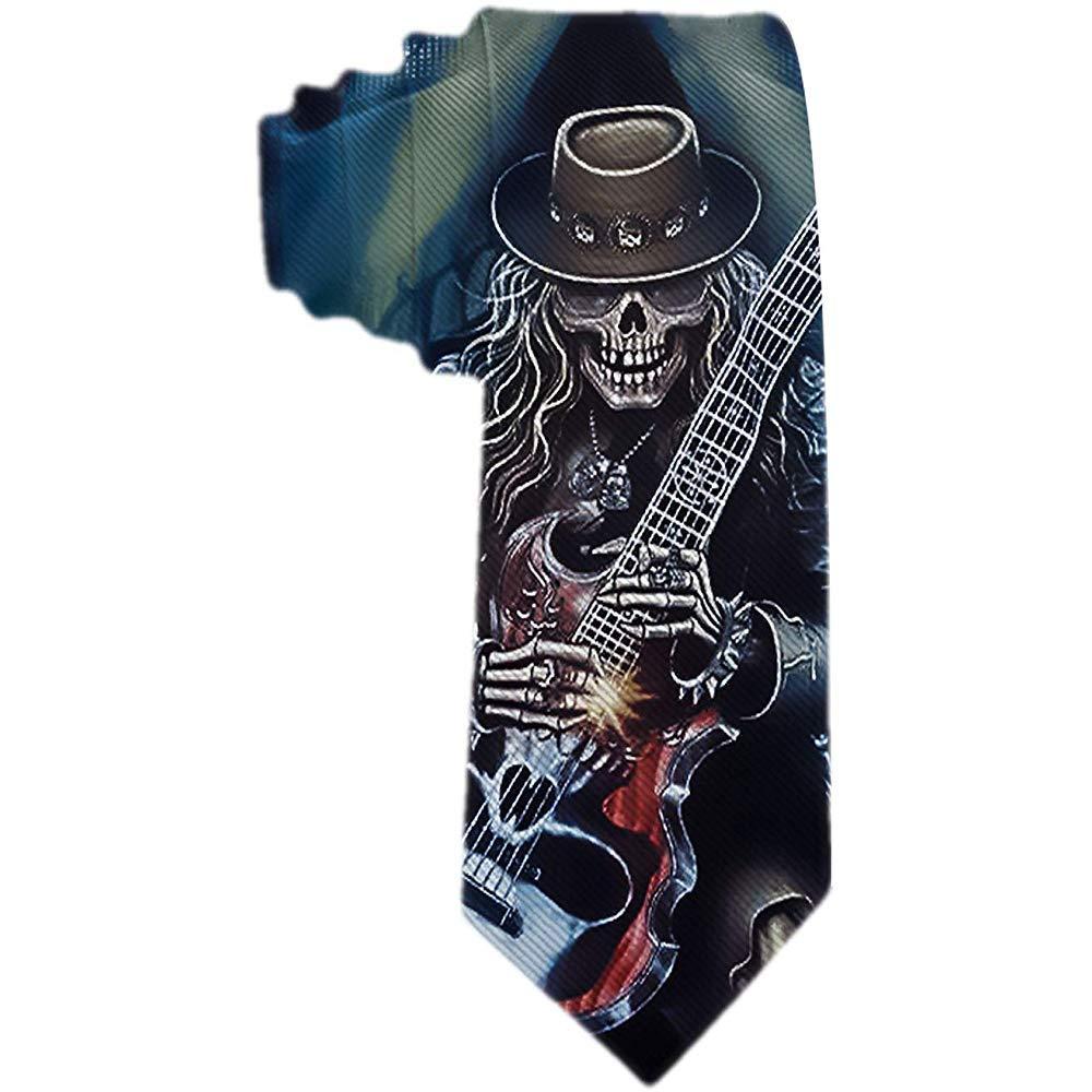 Corbata de hombre S Sordo hombre tocando guitarra el/éctrica Corbata de seda de poli/éster