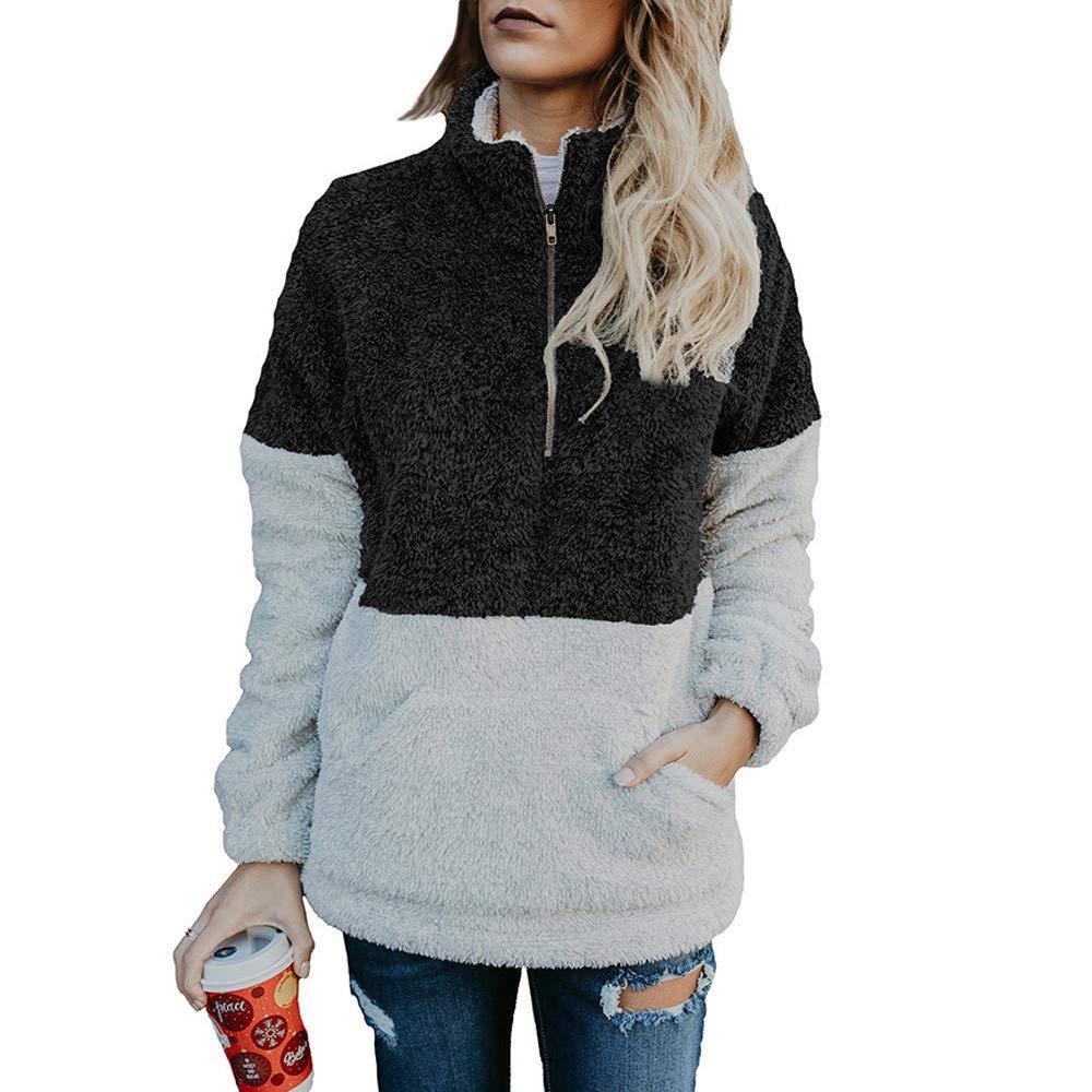 HHei_K Womens Autumn Winter Lounge Color Block Velvet Long Sleeve Zipper Turtleneck Kangaroo Pouch Loose Sweater