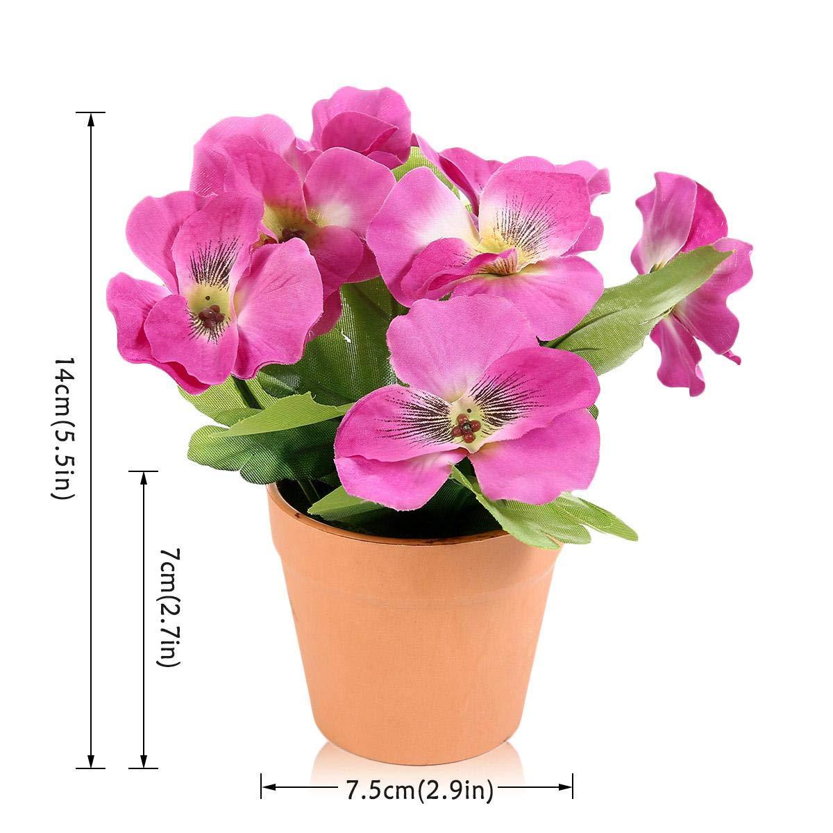 KOBWA Bonsa/ï De Pansy Fleurs Artificielles avec Un Pot De Fleurs Exquis pour Accueil H/ôtel De Mariage F/ête Jardin D/écoration