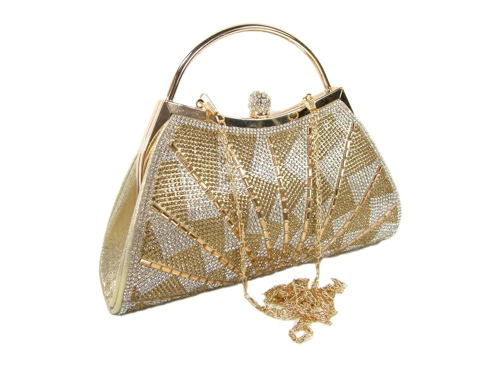 New D'margeaux New York Logo Purse CrossBody Hand Bag Wedding Prom Party Gold