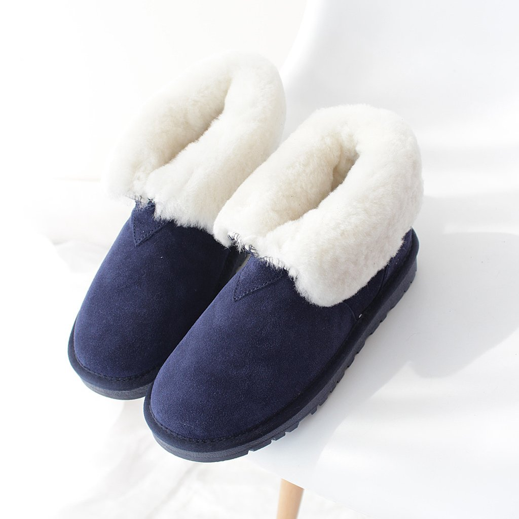 Women 's snow boots winter pure wool thickening cotton shoes cowhide hairy boots ( Color : D , Size : US:5UK:4EUR:35 )