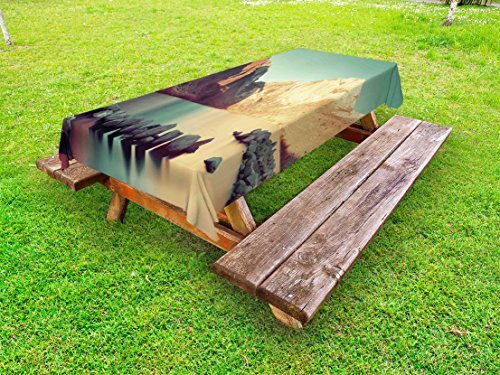 Lunarable Landscape Outdoor Tablecloth, Snow Mountain and Convict Lake with Reflections in Yosemite Countryside Scene, Decorative Washable Picnic Table Cloth, 58 X 120 Inches, Green -