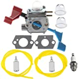 HIPA C1U-W12A Carburetor with Fuel Line Filter Repower Kit Spark Plug for Poulan FL1500 FL1500LE Leaf Blower C1U-W12B
