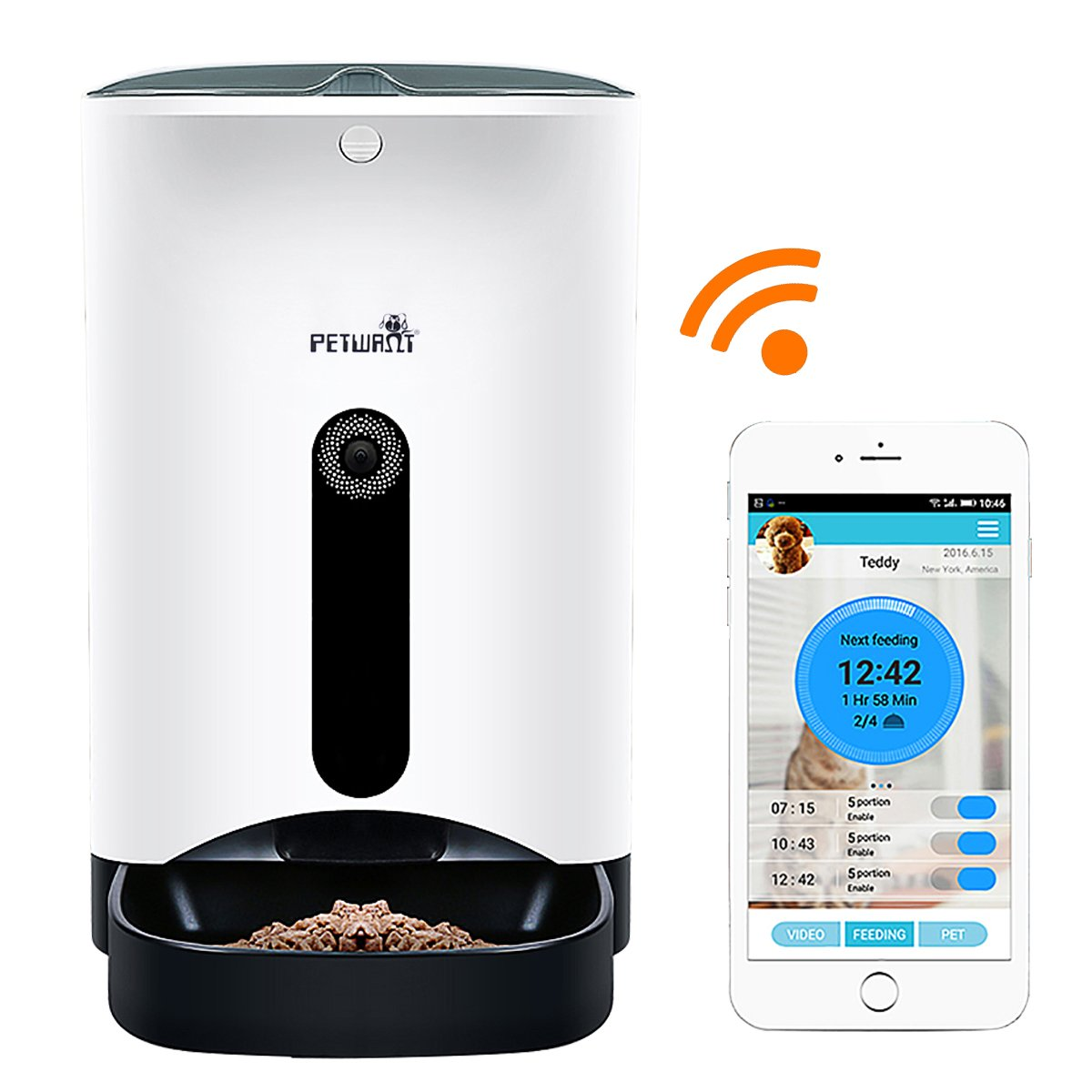 GemPet Petwant SmartFeeder Automatic Pet Feeder, Pet Food Dispenser for Dogs and Cats, Controlled by IPhone, Android or Other Smart Devices