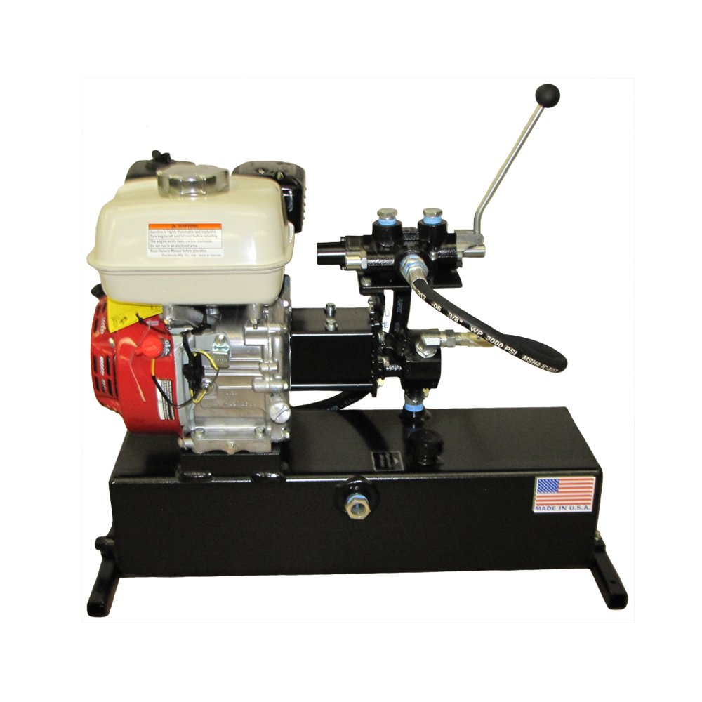 Gas Powered Double Acting Hydraulic Pump - 5 Gallon Reservoir - 5.5 Hp Motor- 3200 psi Relief