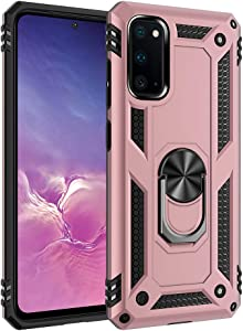 Zanderlyn Samsung S20 5G Case with Kickstand and Metal Ring - Military Grade Shockproof Samsung S20 Case - Slim Dual Layer Galaxy S20 Phone Case - Pink
