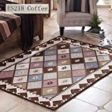 CarPet TOYM US American Country Rectangular Thick Home Machine Washable Living Room Bedroom Bedside Geometric Patterns (Color : ES218 Coffee, Size : 76150cm)
