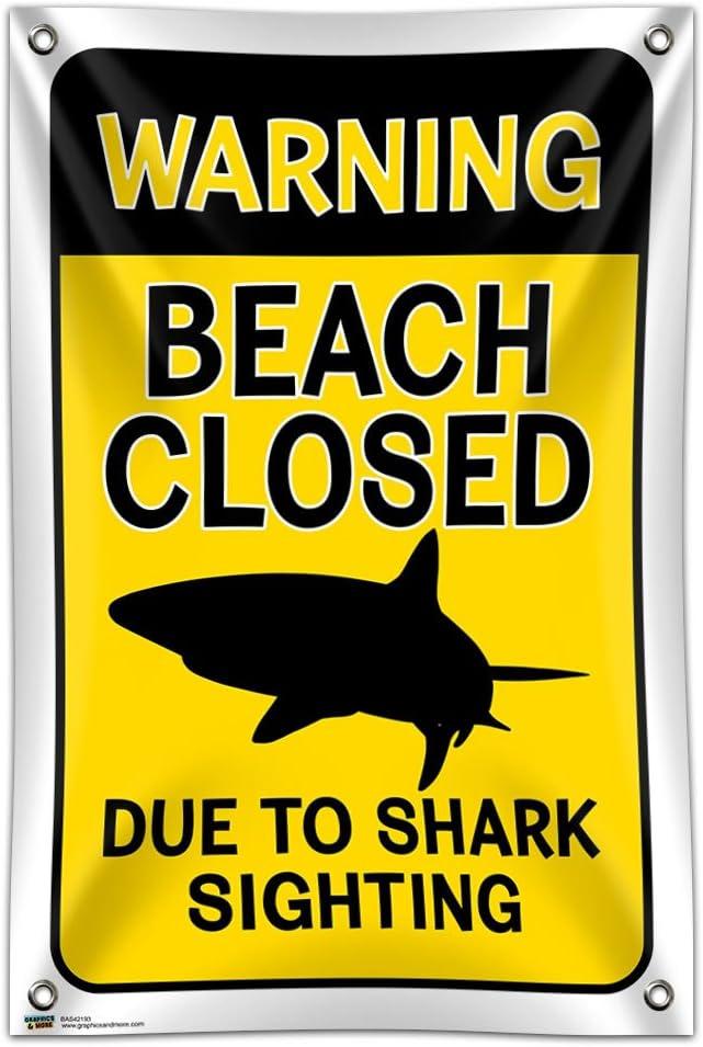 "Warning Beach Closed Due to Shark Sighting 33"" (84cm) x 22"" (56cm) Mini Vinyl Flag Banner Wall Sign"